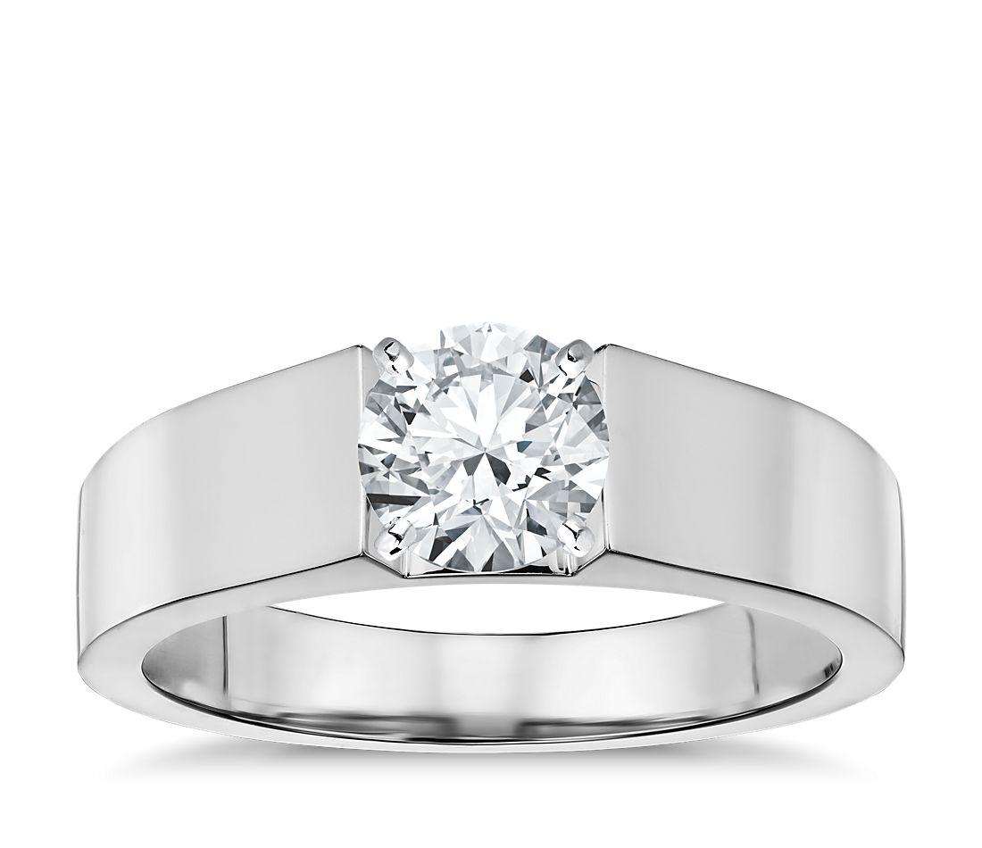 flat solitaire engagement ring in 14k white gold 5mm
