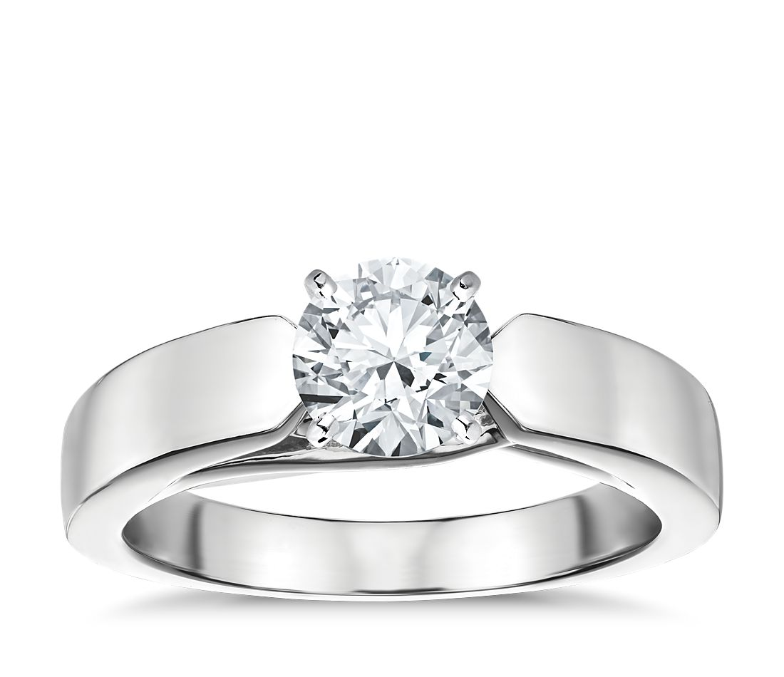 Flat Tapered Solitaire Engagement Ring In Platinum 3 6mm