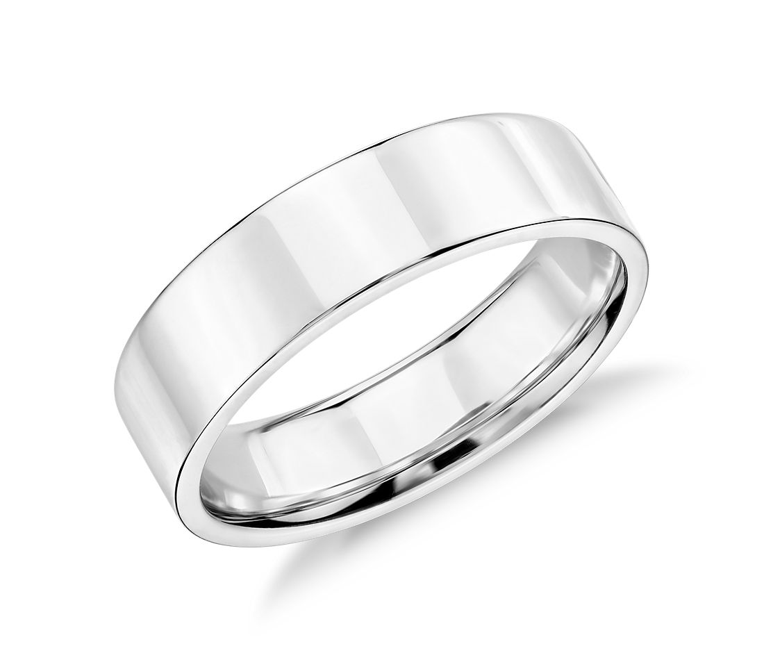 Flat Wedding Ring in 14k White Gold (5mm)