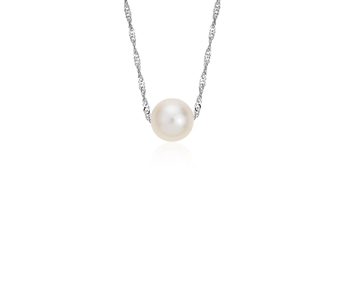 Freshwater Cultured Pearl Floating Pendant in 14k White Gold