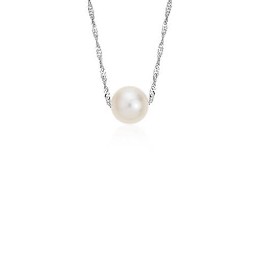 Colgante solitario de perlas rosadas cultivadas de agua dulce en oro blanco de 14k (7,5mm)