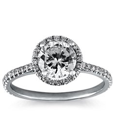 Floating Halo Diamond Engagement Ring in 14k White Gold (1/4 ct. tw.)
