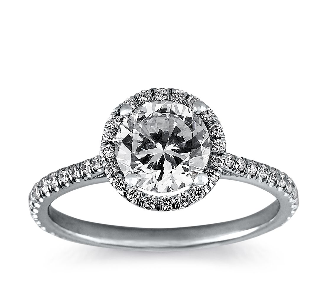 Floating Halo Diamond Engagement Ring In 14k White Gold