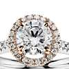 Floating Halo Diamond Engagement Ring in 14k White and Rose Gold (1/3 ct. tw.)