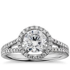 Split Shank Floating Halo Engagement Ring in 14k White Gold