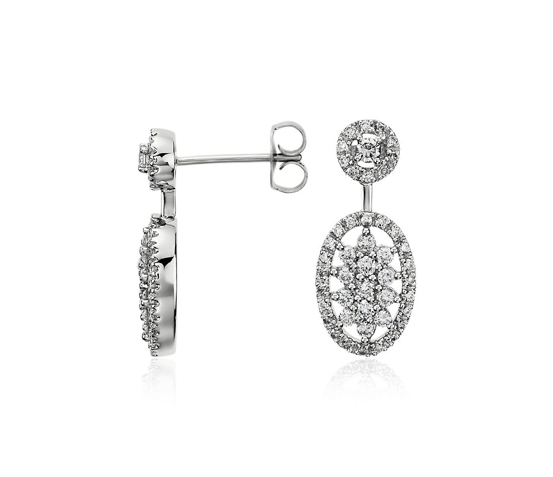 Floral Deco Diamond Earrings in 14k White Gold