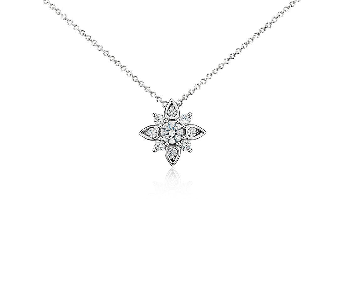 Pendentif diamant motif soleil en or blanc 14carats (1/2carat, poids total)