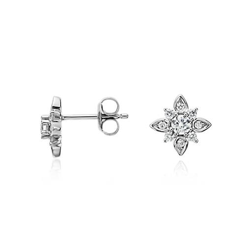Sunburst Diamond Earrings in 14k White Gold (1/2 ct. tw.)