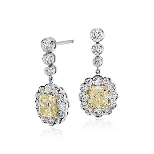 Floral Halo Fancy Light Yellow Diamond Drop Earrings in 18k White Gold (3.28 ct. tw.)