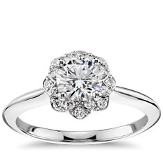 Floral Halo Engagement Ring in 14k White Gold