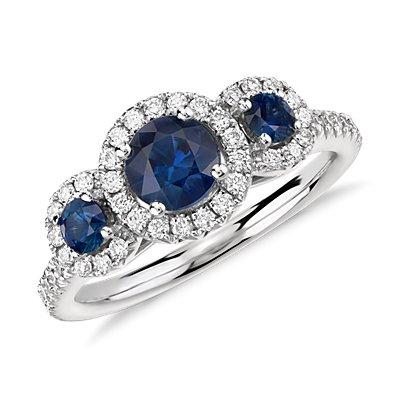 NEW Florentina Sapphire and Diamond Three Stone Ring in 14k White Gold