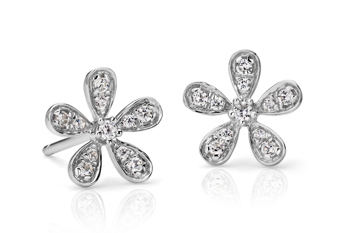 Diamond Flower Stud Earrings in 14k White Gold  (1/10 ct. tw.)