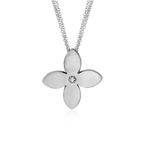 Pendentif fleur en argent sterling satin