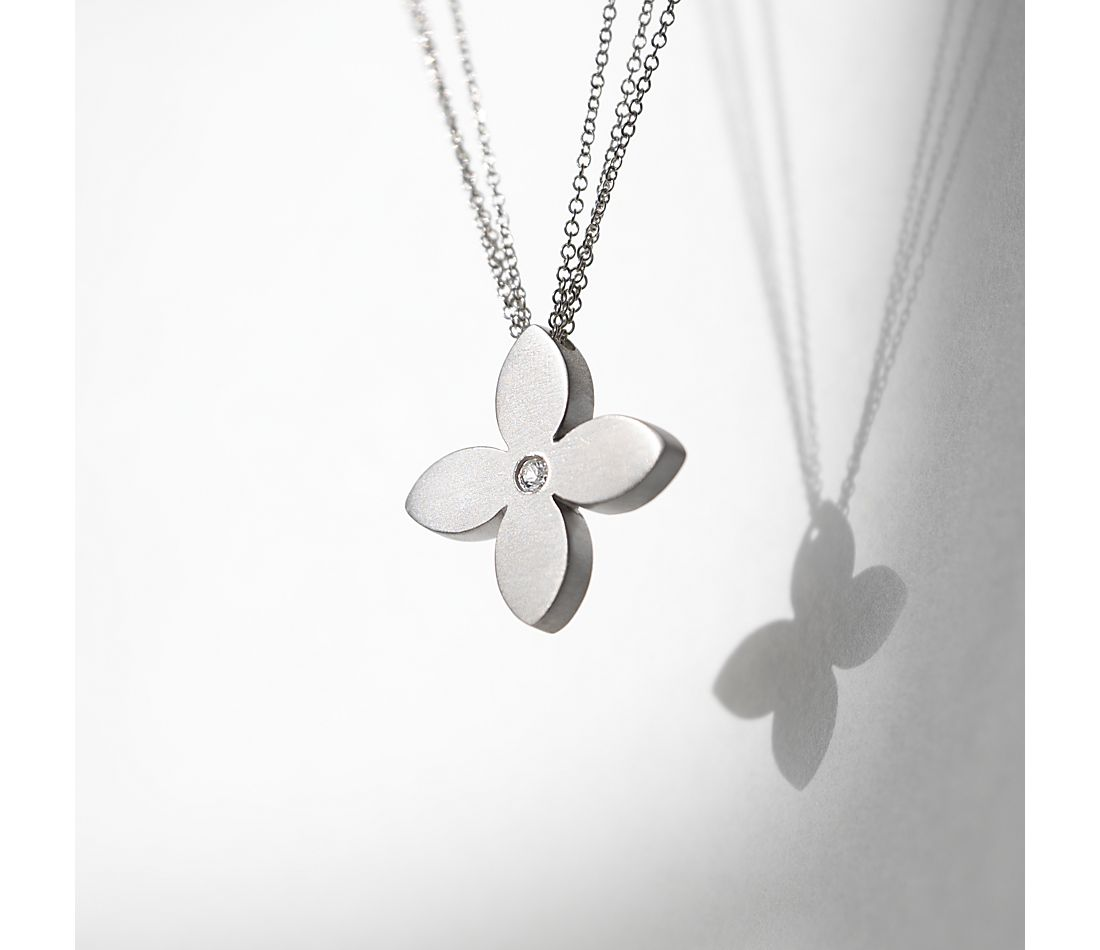 Bree Richey Flower Pendant in Satin Sterling Silver