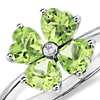 Peridot Flower Ring in 14k White Gold