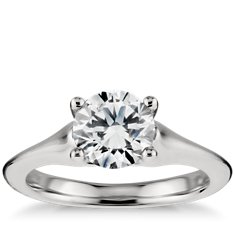 Fluid Solitaire Diamond Engagement Ring in Platinum