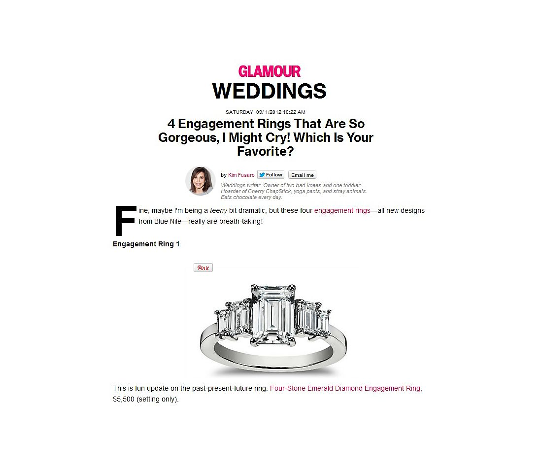 Four Stone Emerald Diamond Engagement Ring in Platinum featured in Glamour.com