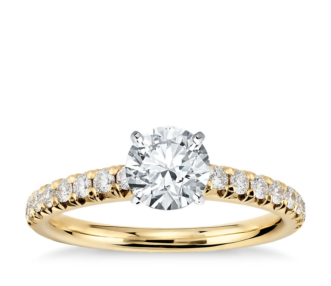 French Pavé Diamond Engagement Ring in 14k Yellow Gold (1 ...