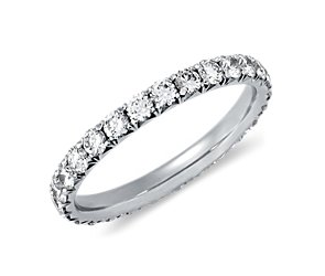 French Pavé Diamond Eternity Ring in 14K White Gold(1 ct. tw.)