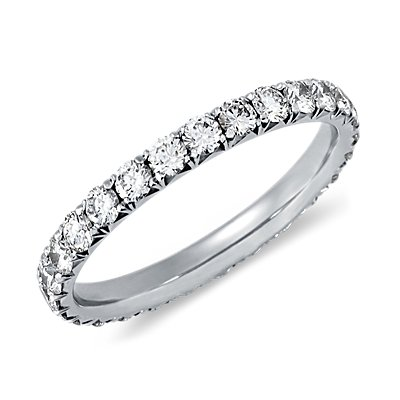 French Pavé Diamond Eternity Ring in 14K White Gold