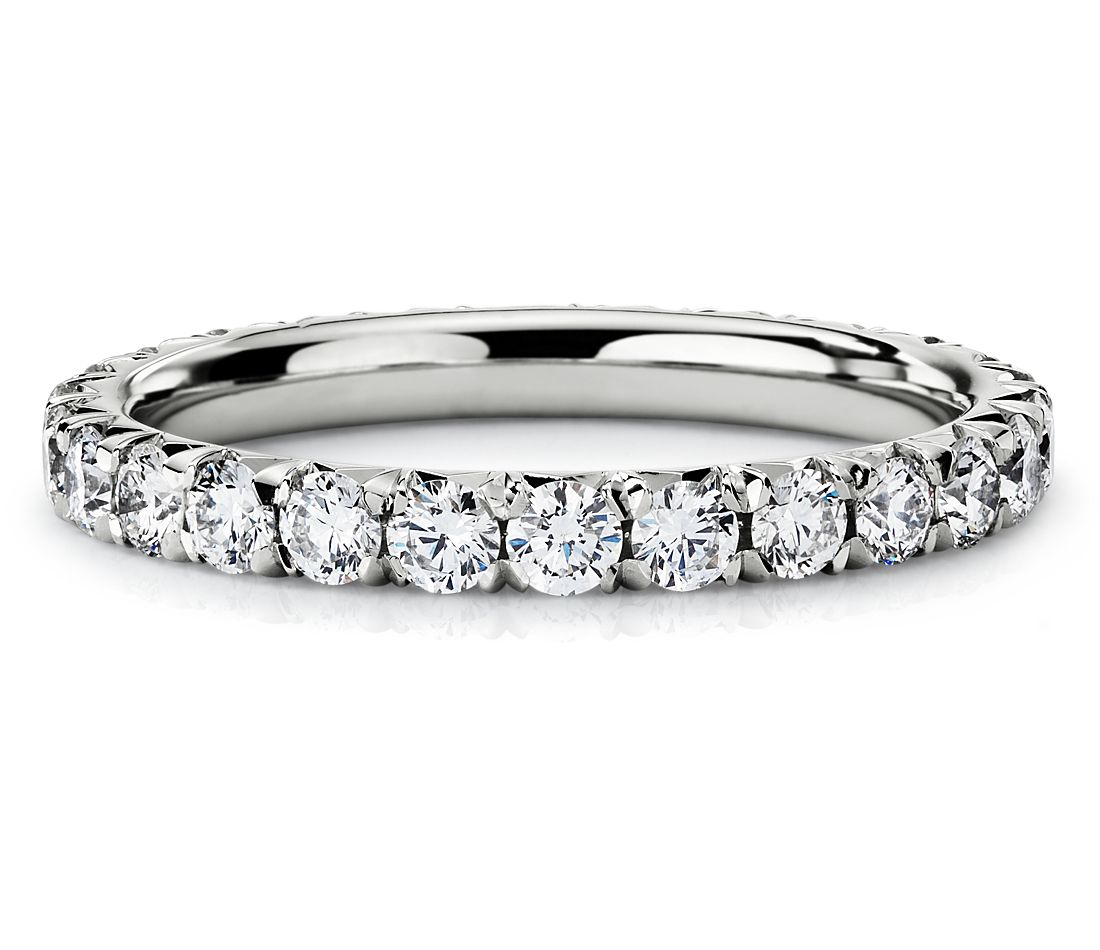French Pavé Diamond Eternity Ring in Platinum (1 ct. tw.)