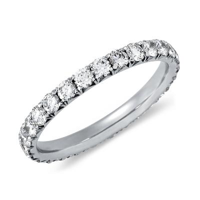 French Pavé Diamond Eternity Ring in Platinum (1 ct. tw.)