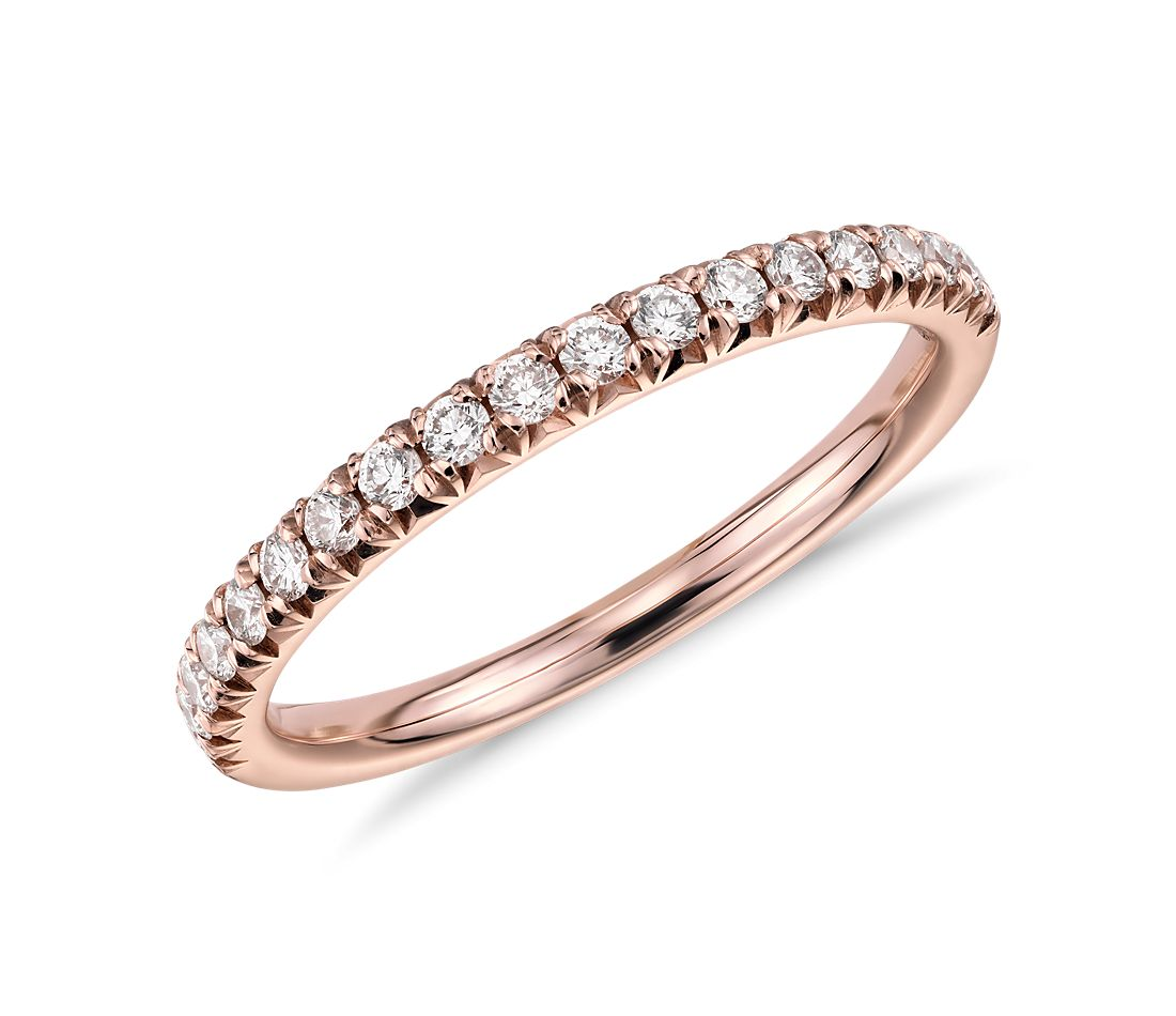 french pav diamond ring in 14k rose gold 1 4 ct tw. Black Bedroom Furniture Sets. Home Design Ideas
