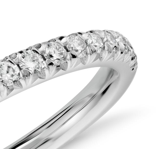 Bague en diamants sertis pavé français en or blanc 14carats (1/4carat, poids total)