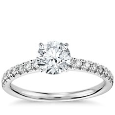 French Pavé Diamond Engagement Ring in 14K White Gold (.25 ct. tw.)