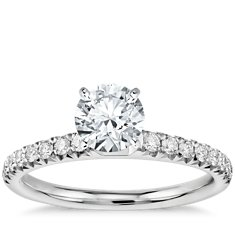 French Pavé Diamond Engagement Ring