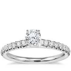 French Pavé Diamond Engagement Ring in Platinum (.25 ct. tw.)