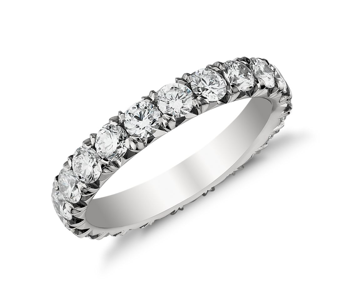 French Pavé Eternity Diamond Ring in Platinum (2 ct. tw.)