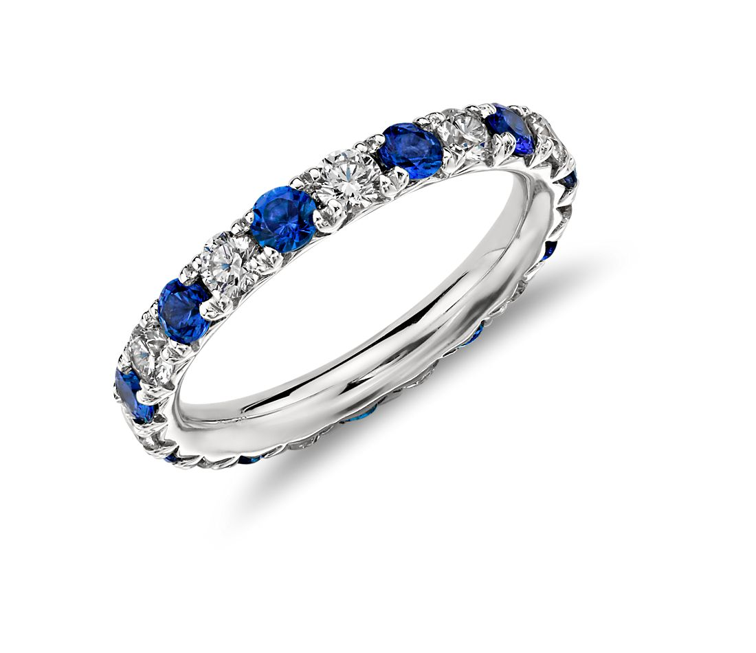 French Pavé Sapphire and Diamond Eternity Ring in 14k White Gold (1 ct. tw.)