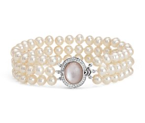Triple-Strand Baroque Freshwater Cultured Pearl and Mother of Pearl Bracelet in Sterling Silver