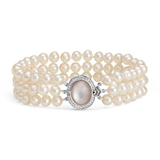 NEW Triple-Strand Baroque Freshwater Cultured Pearl and Mother of Pearl Bracelet in Sterling Silver