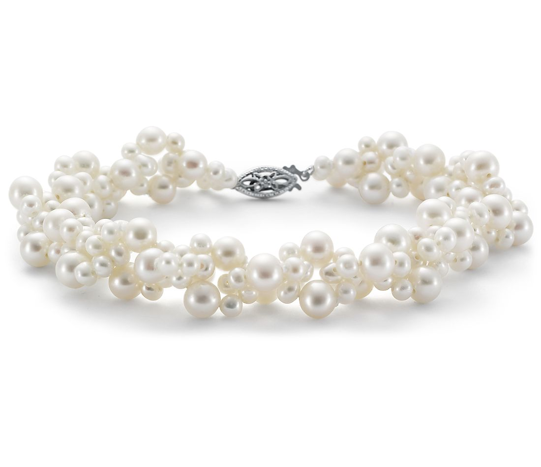 Freshwater Cultured Pearl Woven Bracelet in 14k White Gold