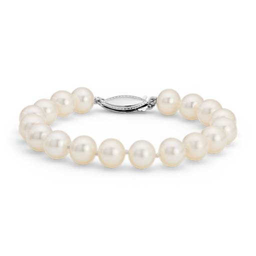 NEW Freshwater Cultured Pearl Bracelet in 14k White Gold (8.0-8.5mm)