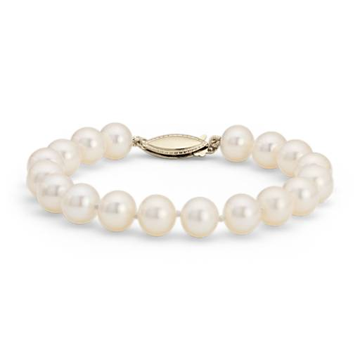 NEW Freshwater Cultured Pearl Bracelet in 14k Yellow Gold (8.0-8.5mm)