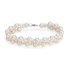 Freshwater Cultured Pearl Cluster Bracelet with Sterling Silver