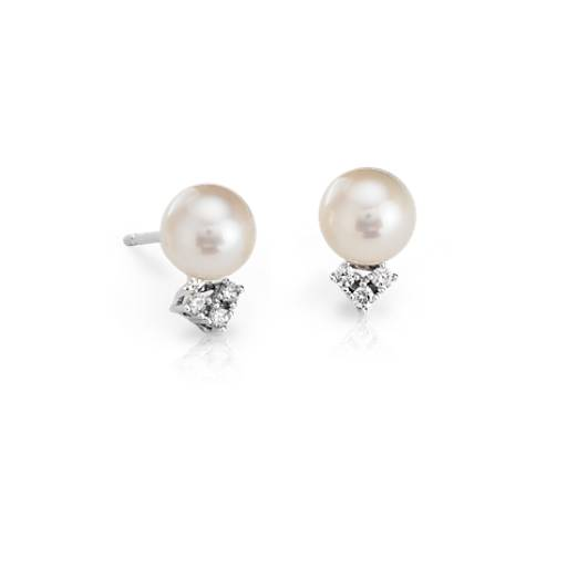 Freshwater Cultured Pearl and Diamond Stud Earrings in 14k White Gold