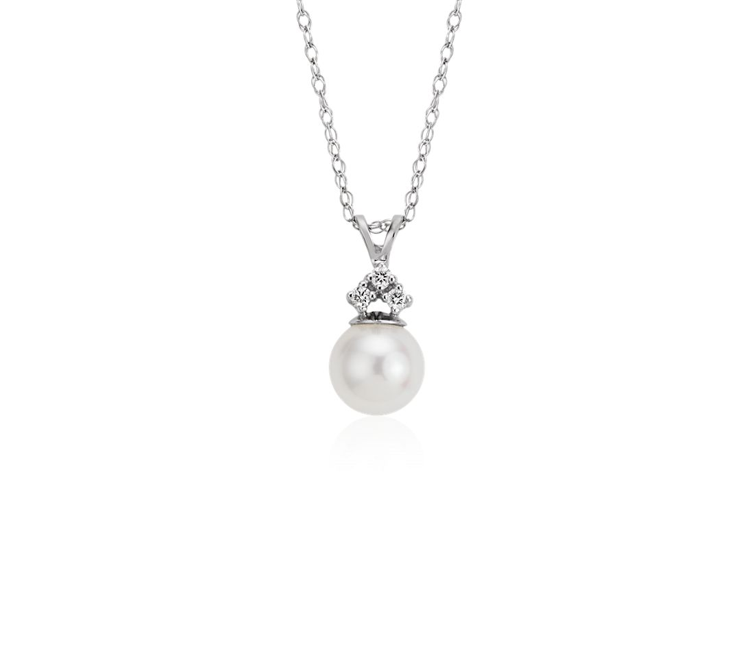 Freshwater Cultured Pearl and Diamond Pendant in 14k White Gold (7mm)