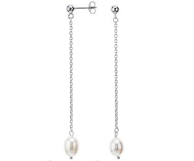 Aretes colgantes de perla cultivada de agua dulce en plata de ley