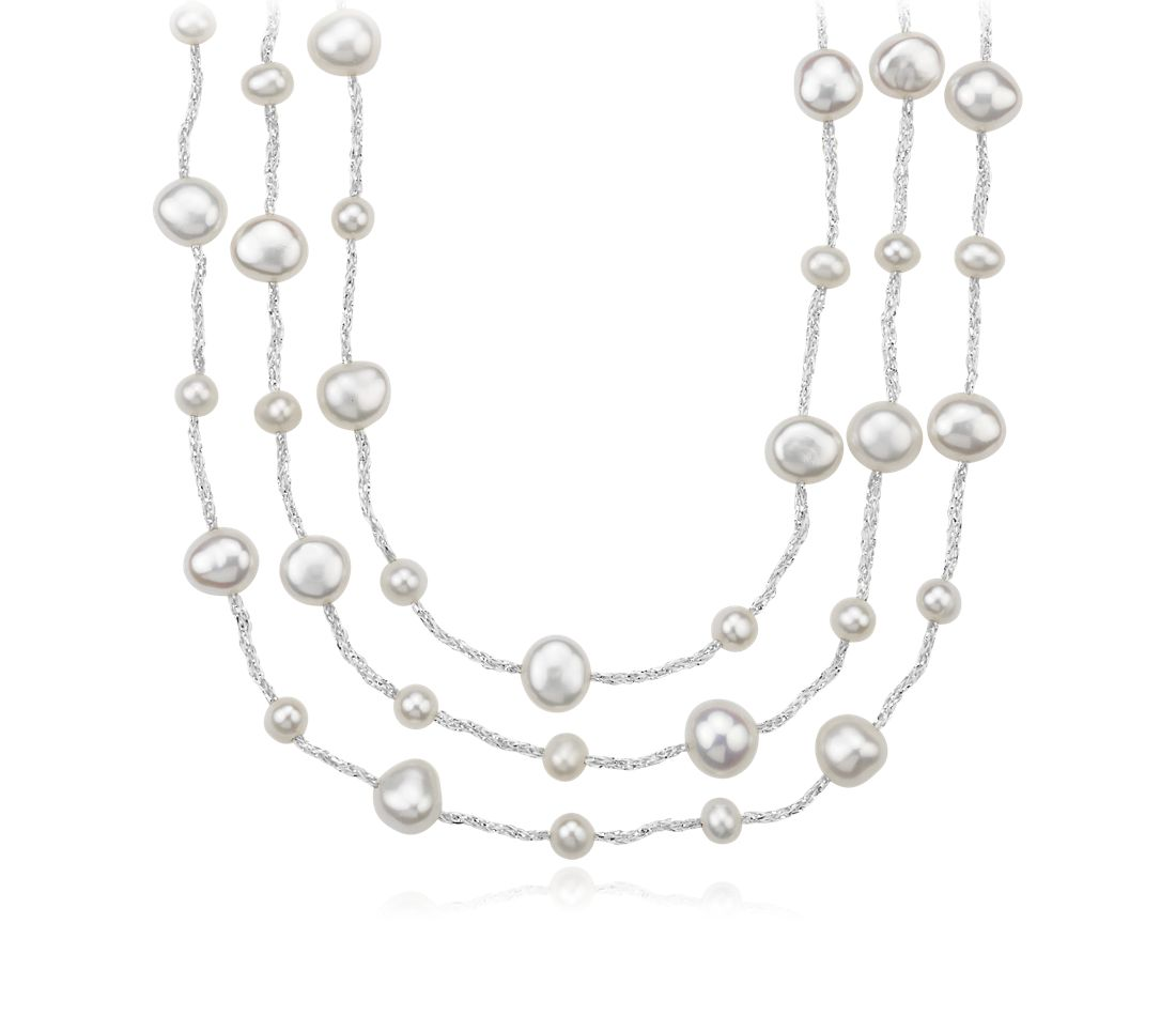 Collier en perles de culture d'eau douce triple rang