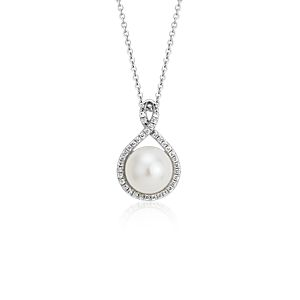 Freshwater Cultured Pearl Twisted Halo Pendant in 14k White Gold