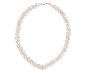 Freshwater Cultured Pearl Woven Necklace with Sterling Silver