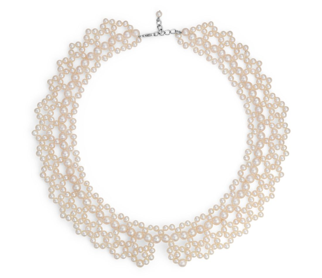 Freshwater Cultured Pearl Lace Collar Necklace with Sterling Silver (4mm)