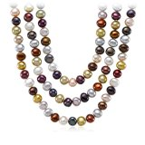 Jewel-Tone Freshwater Cultured Pearl Necklace with Sterling Silver - 54