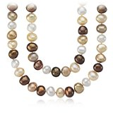 Chocolate Freshwater Cultured Pearl Necklace with Sterling Silver - 54