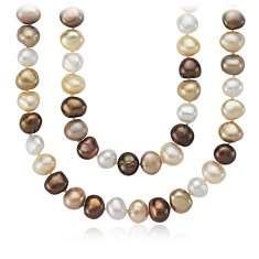 "Chocolate Freshwater Cultured Pearl Necklace with Sterling Silver - 54"" Long"