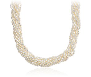 Freshwater Cultured Pearl Toursade Necklace in Sterling Silver